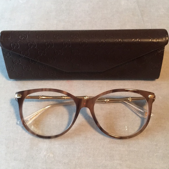 13103848f2b Gucci Accessories - Gucci 3780 Brown Horn Gold Bamboo Cat Eye Glasses